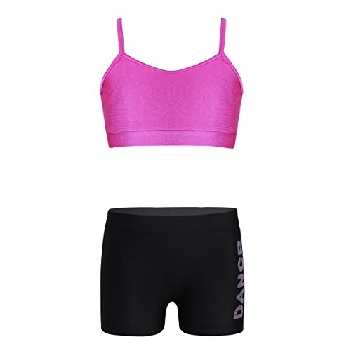MSemis Kids 2-Piece Dance Outfits - Tank Top with Boyshorts Set for Gymnastics Sports Dancing or Swimming Rose & Black 3-4