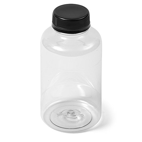 - (16) Clear 38/400 PET Boston Round Bottle - 12 fl oz - Black Flat Cap - Case of 16