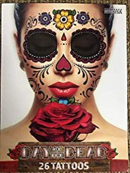 Floral Day of the Dead Sugar Skull Temporary Face Tattoo Kit ()