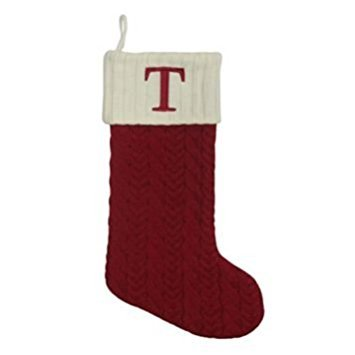 St. Nicholas Square 21-in Knit Monogram Christmas Stocking, Letter T