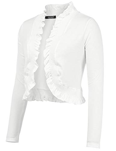 (FISOUL Women's Open Front Cropped Cardigan Lone Sleeve Casual Shrugs Jacket Draped Ruffles Lightweight Bolero Shrugs White S)