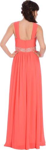 PacificPlex Women's Sleeveless Goddess Chiffon Empire Dress
