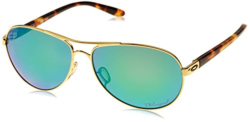Oakley Women's Feedback Polarized Iridium Aviator Sunglasses, Polished Gold & Jade Iridium, 59 mm by Oakley
