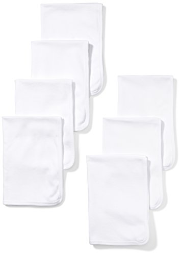 Baby Burp Cloth Set (Moon and Back Baby Set of 7 Organic Burp Cloths, White Cloud, One Size)