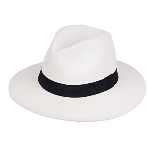 Gangster Hat,Wide Brim Fedora Hats Men Women Felt Trilby Caps Gatsby Themed Party Mobsters Cosplay Costume Roaring 20s Accessories (White) ()