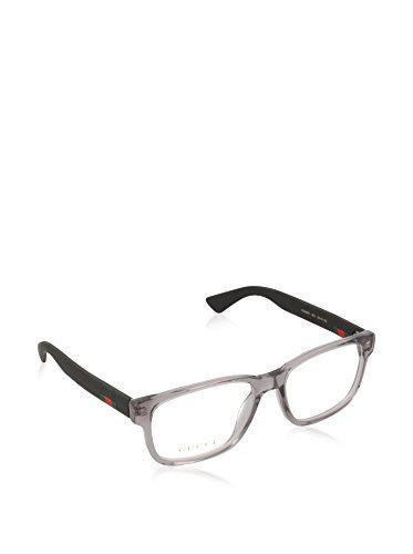 Gucci GG 0011O 003 Transparent Light Grey Plastic Square Eyeglasses - Glasses Gucci Mens Frames