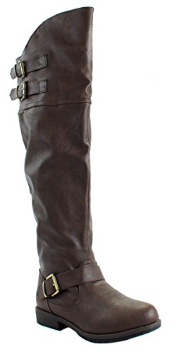 Jasmine Above Women's Glaze Leatherette Faux 10 High Knee Boots Brown axOw5Zq