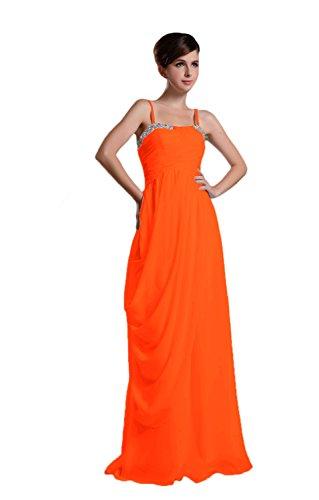 Novia Mall spaghtti de la mujer correas cuentas Evening Party vestidos naranja naranja 46