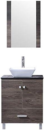 BATHJOY 24 Bathroom PLY Wood Vanity Cabinet Top Ceramic Vessel Sink Faucet Drain Combo