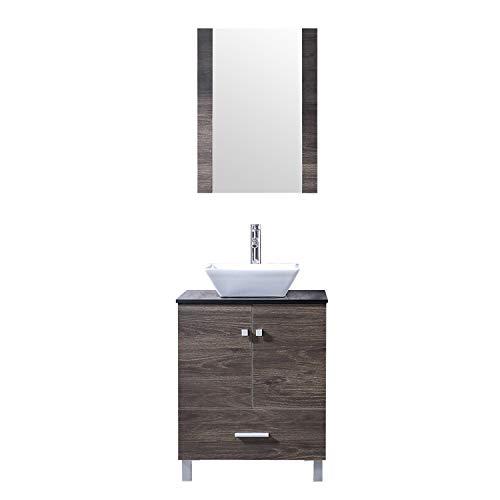 "BATHJOY 24"" Bathroom PLY Wood Vanity Cabinet Top Ceramic Vessel Sink Faucet Drain Combo with Mirror Vanities Set"