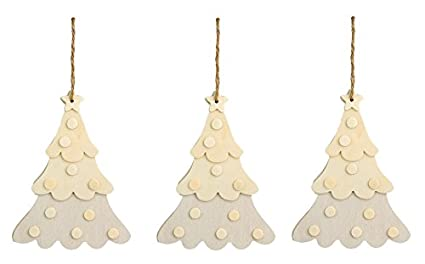 creative hobbies large unfinished dimensional wood christmas tree ornaments wjute hanger pack of