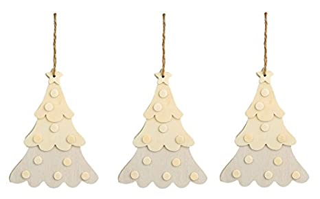 Creative Hobbies Large Unfinished Dimensional Wood Christmas Tree Ornaments W Jute Hanger Pack Of 3