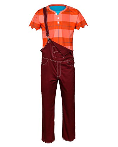 COSFLY Adult Boys Ralph Deluxe Costume Halloween Cosplay Overalls Shirt Vest Tops Outfits Clothes Full Set (Medium)]()