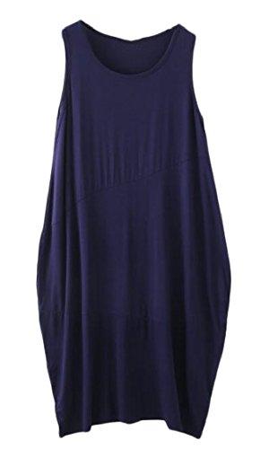 1 Jaycargogo Women Crew Dress Summer Sleeveless Loose Fit Color Solid Casual Neck aPP1n
