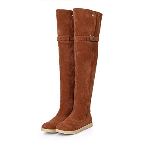 TANGOGO Women's Keep Warm Fur Outdoor Snow Boots Winter Over Knee Long Riding Shoes ()