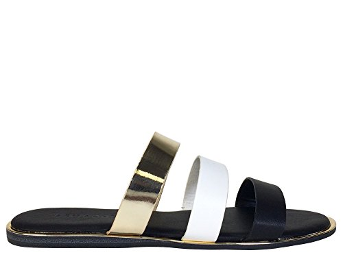 Bamboewomens Sandaal Zwarte Combo Met Drie Bandjes