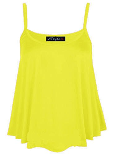 Nuevo Mujer Liso Swing Cami chaleco cadena neón Top Ladies cadena de Swing Top Plus tamaños UK tamaño 8 – 26 NEON YELLOW CAMI CROP TOP