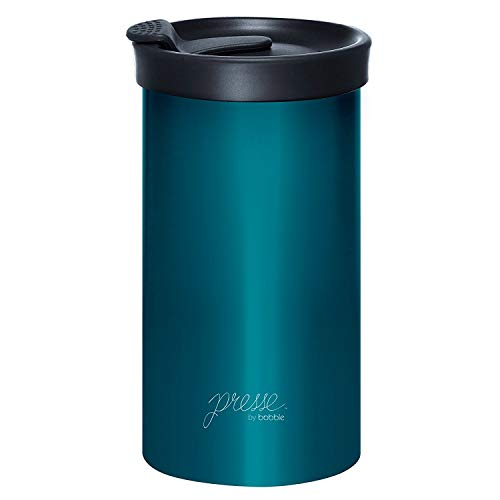 (Presse by bobble Coffee & Tea Maker, Press Coffee Maker, Travel Tumbler, Stainless Steel, On the Go Brewer, Brew Press & Go, Portable Coffee Brewer and Tumbler in One, 13 oz., Peacock)