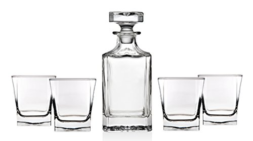 Trinkware Norwalk Whisky Decanter Set - 5 Piece Barware Set - Includes Decanter And 4 Glasses - Square Wine Bottle With Dof Rocks