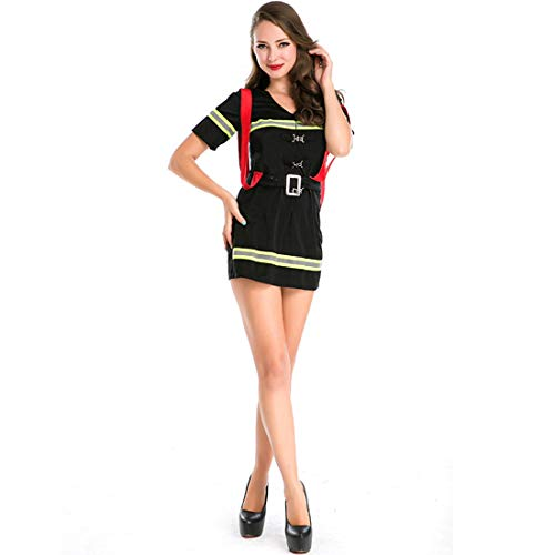 MV Womwn Halloween New Adult Female Firefighter Cosplay Costume Dress Clothing]()