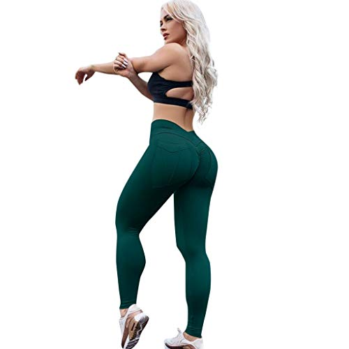 Price comparison product image Xavigio_Women Leggings Womens High Waist Yoga Pants Butt Lifting Tummy Control Workout Running Leggings Tights Green