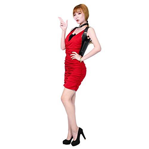 Xcostume Ada Wong Dress Costume Suit for Women RE2 Halloween Cosplay Red -