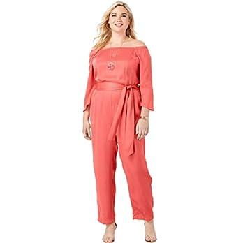 cc5d16c3e7c Jessica London Women s Plus Size Off-The-Shoulder Tencel Jumpsuit – Sunset  Coral