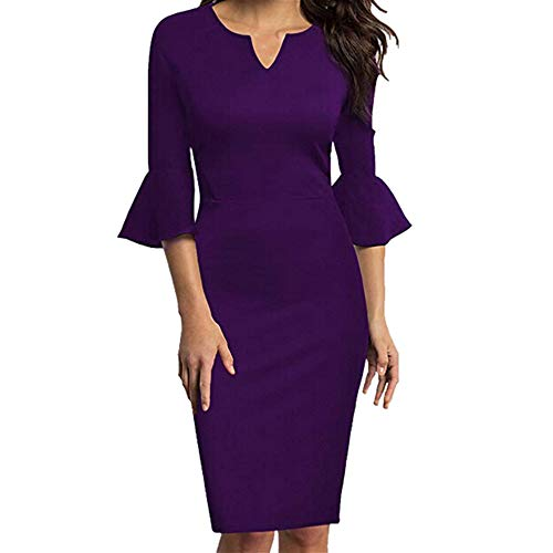- Office Dress,Longay Women Sexy V-Neck Flounce Bell Sleeve Office Work Casual Pencil Dress (XXL, Purple)