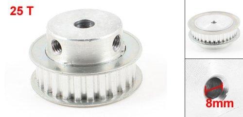 DealMux Silver Tone Aluminum Alloy XL 25 Teeth 8mm Pilot Bore Screwed Timing Pulley