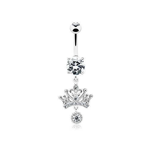 14G Dainty Crown Dangle Inspiration Dezigns Belly Button Ring ()