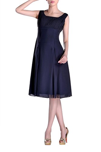 Scoop Straps Chiffon Prom Homecoming Knee Length A-line Pleated Bridesmaid Dress , Color Navy Blue ,2