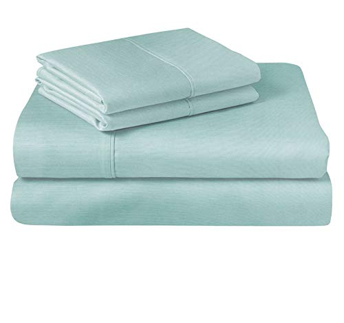 MARQUESS Cooling Bamboo Microfiber Sheet Set-Rayon from Bamboo, Breathable & Soft,Hypoallergenic Lightweight 4-Piece Bedding Sheets (ICE Blue, Full Size)