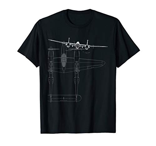 P-38 Lightning WWII Fighter Airplane Line Art T-Shirt ()