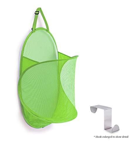 Topline Over-The-Door Mesh Hamper - Lime Green [Hook Included] (The Over Clothes Door Hamper)