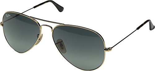 Ray-Ban 3025 Aviator Large Metal Non-Mirrored Non-Polarized Sunglasses, Gold/Light Grey Gradient Dark Grey (181/71), - Ray Ban Metal Aviator 3025 Large