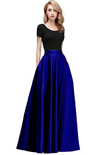 Honey Qiao Women Maxi Skirts Satin High Waist Elegant Formal Evening Skirt Royal Blue ()