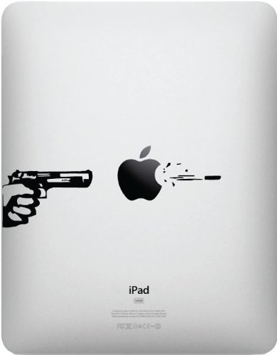 Apple gun and bullet for ipad vinyl decal