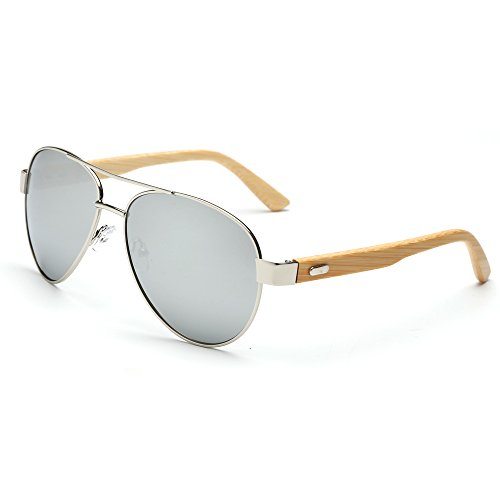 VeBrellen Men's Sunglasses Bamboo Wood Arms Classic Mirrored Aviator Sunglasses For Men & Women (Silver Frame With Silver Lens, - Recycled Sunglasses Wood