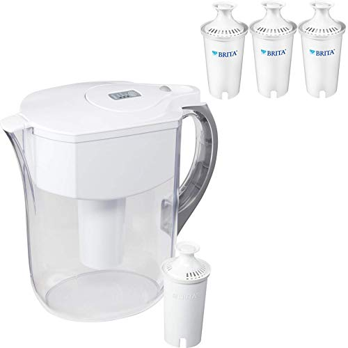 Brita Large 10 Cup Grand Water Pitcher with Filter - BPA Free - Available in Multiple Colors - Pitcher with 4 - Lid Brita Replacement