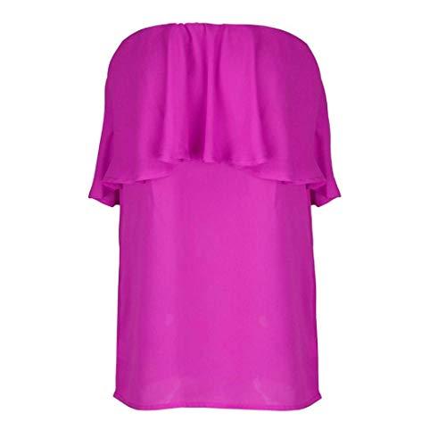 sans Sangle Mode Manches Et Spcial Unicolore Dos Large Jeune Femme Elgante Blouse avec Bretelles Tops Nu Haut Shirts Rouge sans Style Volants Bandeau Dcontract xwH0nnIq8