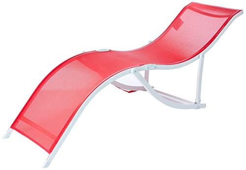 """Cadeira Espreguiçadeira """"s"""" Aluminio Textilene - Vermelho Bel Fix Vermelho"""
