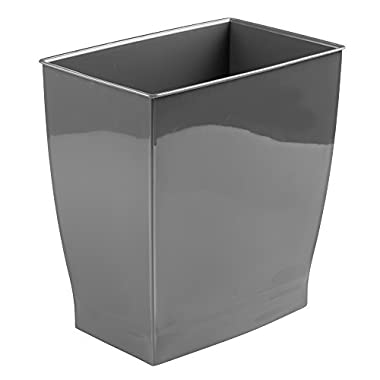 mDesign Wastebasket Trash Can - Rectangular, Slate