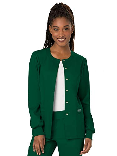 Round Ultra Hunter - Cherokee Women's Snap Front Warm-up Jacket, Hunter Green, XX-Small