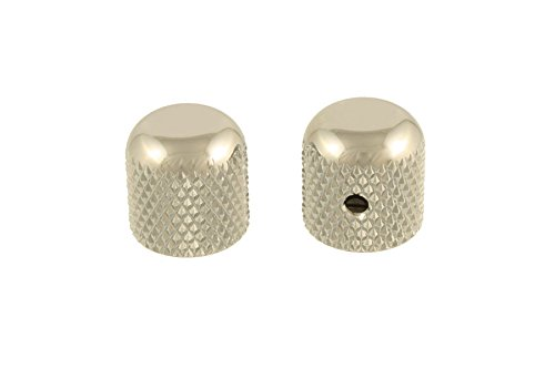 2 Nickel Dome Knobs Set Screw fits US Solid Shaft Pot ()