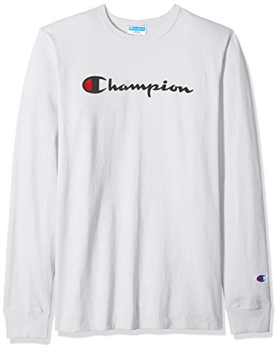 Champion LIFE Men's Heritage Long Sleeve Tee, White/Ink Graphic/Script ()