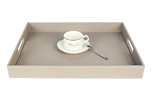 Coffee Beige Tray - Ostrich PU Leather Rectangular Serving Tray Elegant Tray with Antislip velvet Bottom for Decorative Ottoman Coffee Table Living Dining Room Kitchen, Light Grey, 17.7 x 13.8 x 2 inches