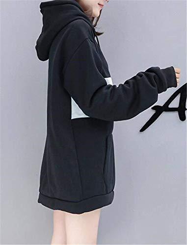 Donna Felpe Autunno Manica Tasche Invernali Eleganti Felpa Con Pullover Sciolto Ragazza Laterali Cappuccio Giovane Nero Moda Lunga Chic Patchwork Streetwear Swag rrdFqwt