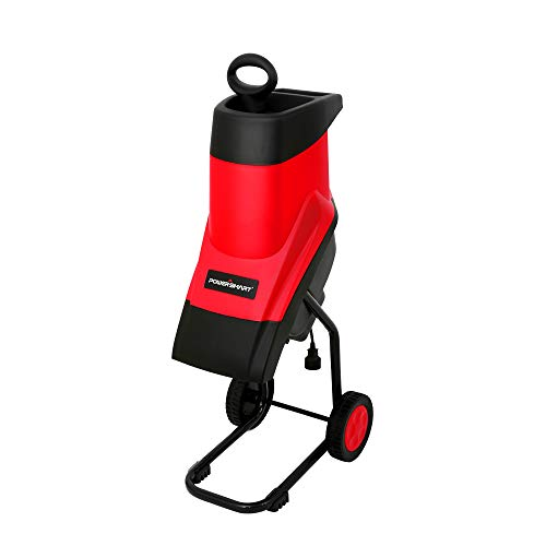 PowerSmart PS10 15-Amp Electric Garden Chipper/Shredder with Safety Locking Knob, red, Black
