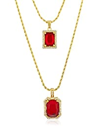 """Goldtone Simulated Gemstone Micro Pendants with 22.5"""" and 27"""" Rope Chain Layered Necklace Set - Available in Red, Green & Black"""