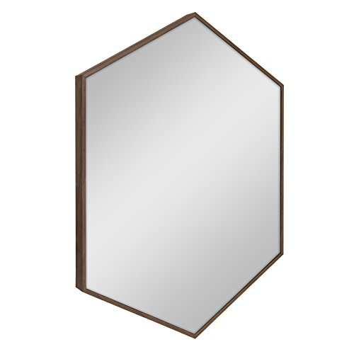 Kate and Laurel Rhodes Hexagon Framed Wall Mirror 22x31 Walnut Brown
